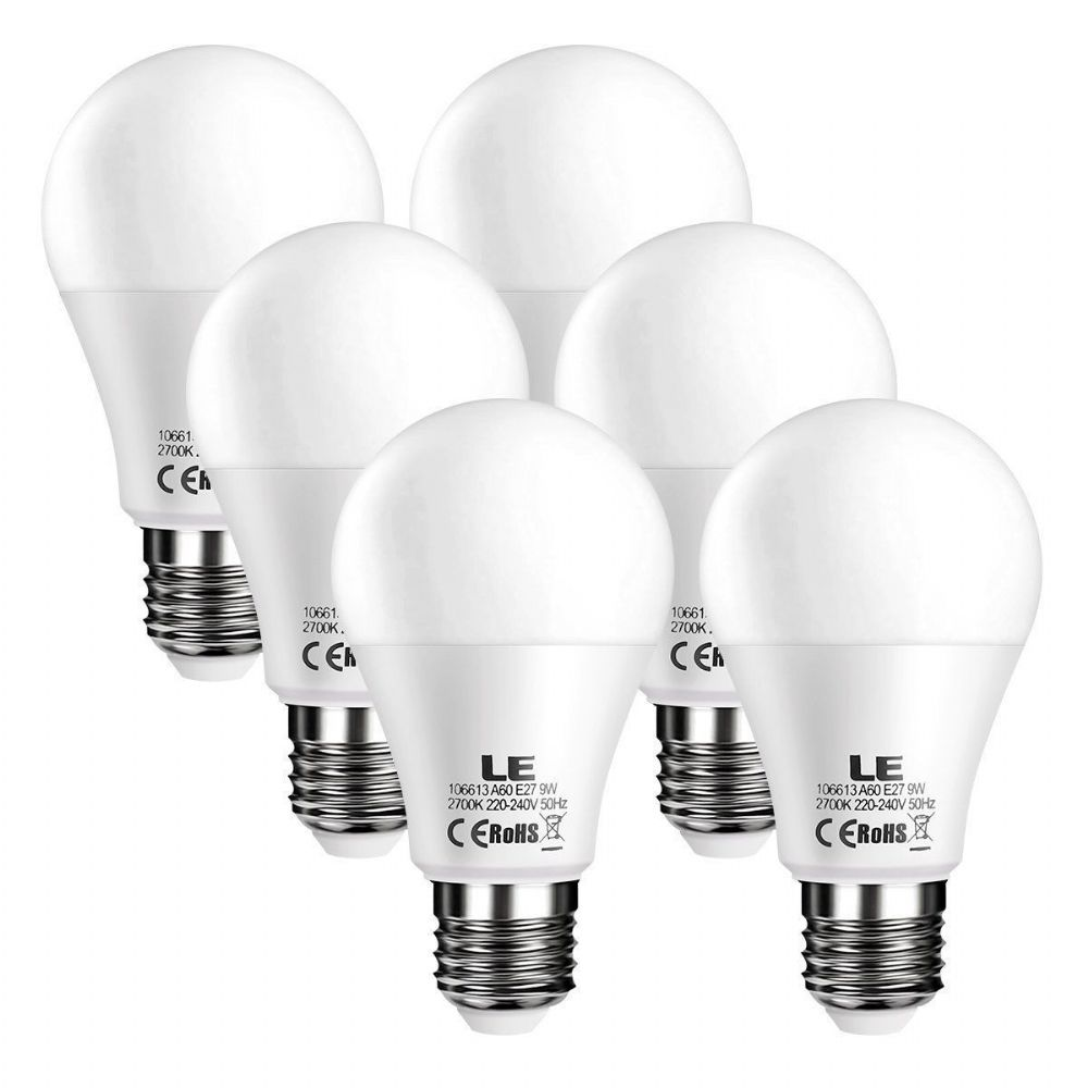6 X LED E27 Edison Screw In Light Bulb Frosted 9W 60W